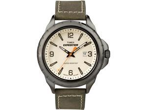 Timex Men's Dakota Rugged Metal T49909 Green Leather Quartz Watch with White Dial