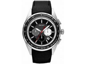 Men's Black DKNY Chronograph Leather Band Watch NY1488