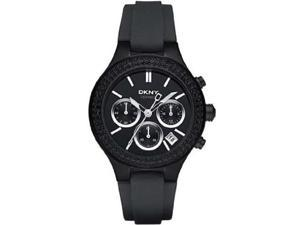 DKNY Women's Chronograph Black Crystal Black Dial Black Rubber