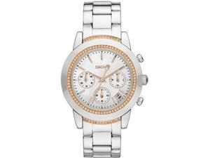 DKNY Women's NY8589 Silver Stainless-Steel Quartz Watch with White Dial