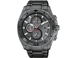 Citizen CA0307-51H Black Stainless Steel Eco-Drive Chronograph Carbon Fiber Dial Accents
