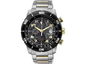 Citizen CA0469-59E Eco-Drive Chronograph Two Tone Stainless Steel Case and Bracelet Black Dial Date Display
