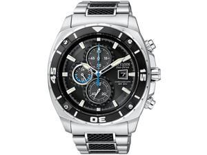 Citizen CA0300-50E Stainless Steel Two Tone Eco-Drive Chronograph Carbon Fiber Dial Accents