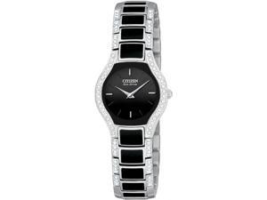 Citizen Eco-Drive Black Normandie Crystal Bracelet Gift Set Women's Watch #EW9870-64E