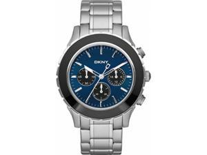 DKNY Men's NY1512 Silver Stainless-Steel Quartz Watch with Blue Dial