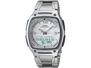 Casio Men's AW81D-7AV Silver Stainless-Steel Quartz Watch with Silver Dial