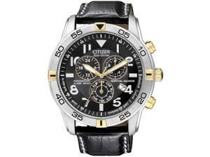 Citizen BL5476-00E Stainless Steel Case Eco-Drive Chronograph Alarm Perpetual Calendar Black Dial Leather Strap