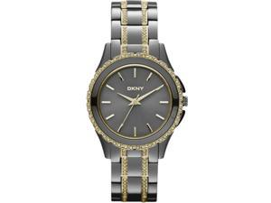 DKNY #NY8700 Women&#59;s Two Tone Gunmetal Crystal Accented Bracelet Watch