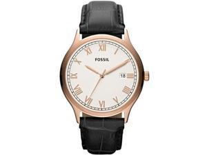 Fossil Men's Ansel FS4743 Black Leather Quartz Watch with White Dial