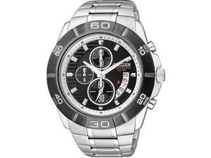 Citizen Men's AN3411-51E Silver Stainless-Steel Quartz Watch with Black Dial