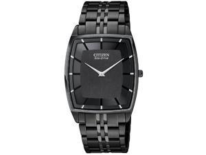 Citizen Men's Stiletto Eco-Drive Black Dial Black Ion Plated Stainless Steel