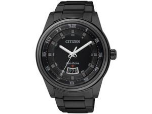 Men's Black Citizen Eco-Drive Steel Dress Watch AW1284-51E