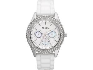 Fossil Women's ES3001 White Silicone Analog Quartz Watch with White Dial