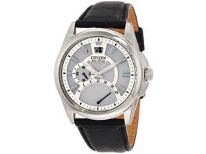 Citizen BR0120-07A Men's Dual Time Eco Drive Leather Strap Watch