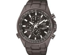 Men's Black Citizen Eco-Drive World Chronograph A-T Watch AT8025-51E