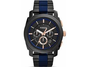 Men's Fossil Machine Black and Blue Chronograph Watch FS5164