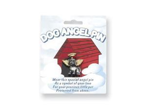 Pewter & Gold-tone Dog Angel Lapel Pin