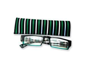 Blue & Green Stripes 2.25 Magnification Reading Glasses