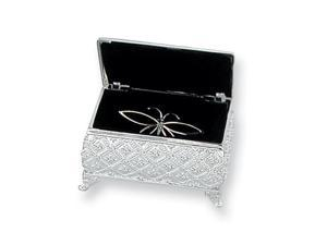 Silver-plated Small Quilted Floral Jewelry Box