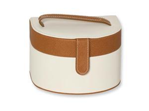 Cream with Brown Accent Jewelry Case