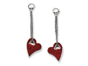 Stainless Steel Red Crystal Heart Post Dangle Earrings