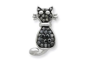 Sterling Silver Black & White Sworovski Crystal Cat Pendant Necklace