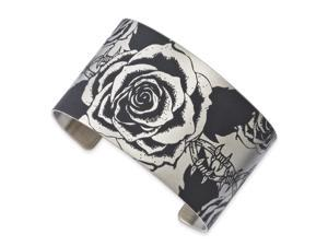 Stainless Steel Wired Rose Cuff Bangle