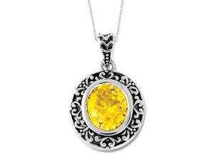 Sterling Silver Antiqued CZ Old Friends Are Golden 18in Necklace