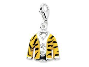 Sterling Silver Click-on CZ Enamel Tiger Jacket Charm