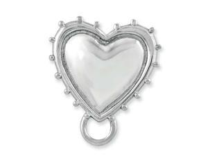 Sterling Silver Rhodium-plated Heart Charm Carrier Pendant