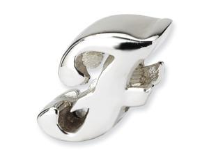 Sterling Silver Reflections Letter F Script Bead
