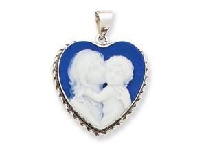 14k White Gold 20x20 Porcelain Heart Cameo Pendant