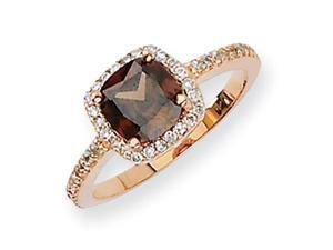 Sterling Silver CZ Cocoa Rose Gold-Plated Ring