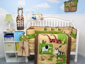 SoHo Safari Jungle Animals Baby Crib Nursery Bedding Set 14 pcs included Diaper Bag with Changing Pad, Accessory Case & Bottle ...