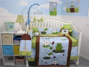 SoHo Designs Froggies Party Baby Crib Nursery Bedding Set 14 pcs included Diaper Bag with Changing Pad, Accessory Case & ...
