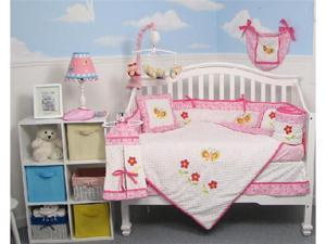 SoHo Designs Butterflies Garden Baby Crib Nursery Bedding Set 14 pcs included Diaper Bag with Changing Pad, Accessory Case ...