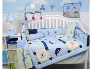 SoHo Designs Baby Sailboat Baby Crib Nursery Bedding Set 14 pcs included Diaper Bag with Changing Pad, Accessory Case & Bottle ...