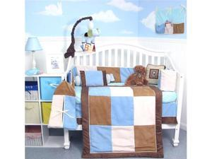 SoHo Designs Blue & Brown Suede Baby Crib Nursery Bedding Set 14 pcs included Diaper Bag with Changing Pad, Accessory Case ...