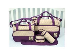 SoHo Designs Lavender Diaper Bag with Changing Pad 5 pieces Set