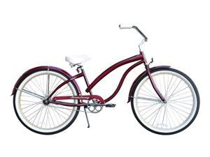 "Firmstrong Bella Fashionista Single Speed,   Burgundy - Women's 26"" Beach Cruiser Bike"