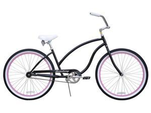 "Firmstrong Chief Single Speed,  Black w/ Pink - Women's 26"" Beach Cruiser Bike"