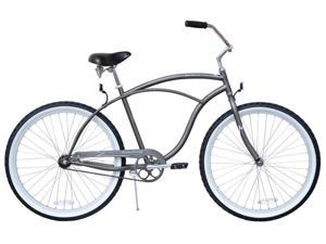"Firmstrong Urban Man Single Speed,  Matte Grey - Men's 26"" Beach Cruiser Bike"