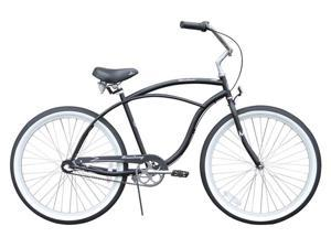 "Firmstrong Urban Man 3 Speed,  Matte Black - Men's 26"" Beach Cruiser Bike"
