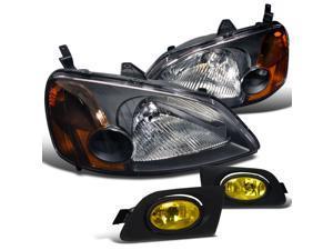 Honda Civic 2 4 Dr. Ex Dx Black Headlights , Yellow Fog Lights Lamps