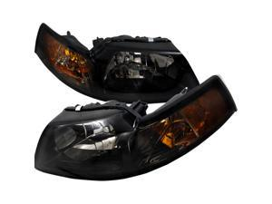 1999-2004 FORD MUSTANG SMOKE TINTED HEAD LIGHTS LAMPS
