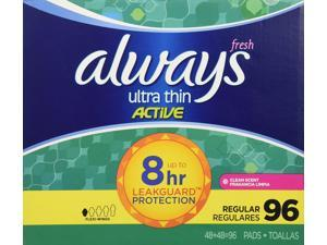 Always Ultra Thin Active Pads, Regular With Flexi-Wings, Clean Scent ,96 Count