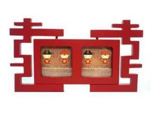 "Double Happniess Red Wood Photo Frame 3""x3"""