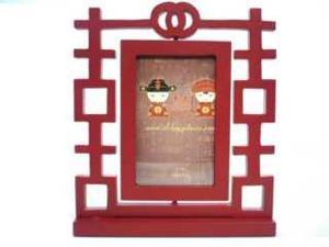 "Double Happiness Red Wood Photo Frame 4""x6"""