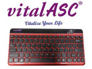 vitalASC 10KA For iPad Windows Android  Slim Bluetooth Keyboard Rechargeable - Red