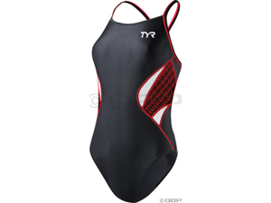TYR Women's Thin Strap Reversible Swimsuit: Black/Red~ MD